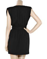 Halston Heritage | Black Cap-sleeve V-neck Plisse Gown | Lyst