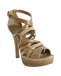 Prada | Brown Cork Leather Crisscross Strappy Woven Platform Sandals | Lyst