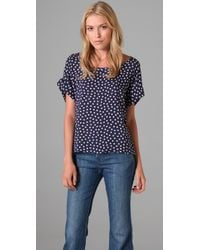 Splendid - Blue Polka-dot Voile Blouse - Lyst