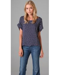Splendid | Blue Polka-dot Voile Blouse | Lyst