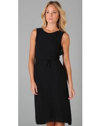 Max Azria - Black Crepe Dress with Gauze - Lyst