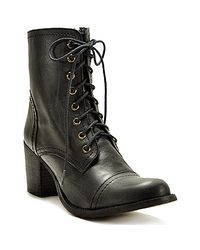 Steve Madden | Graanie - Black Leather Combat Boot with Heel | Lyst