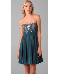 Rebecca Taylor - Blue Beaded Strapless Dress - Lyst