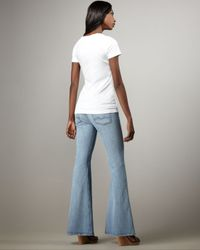 7 For All Mankind - Blue Bell-bottom Silver Strand Super Light Jeans - Lyst