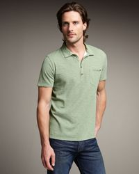 7 For All Mankind | Green Slub Polo, Cactus for Men | Lyst