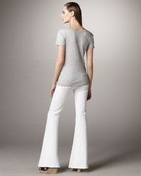 7 For All Mankind | Bell Bottom Clean White Jeans | Lyst