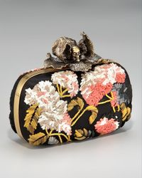Alexander McQueen | Black Iris Skull Clasp Clutch Bag | Lyst