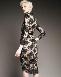 Alexander McQueen - Black Lace Faux-wrap Dress - Lyst