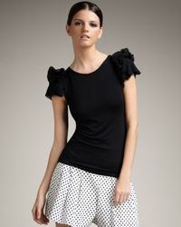 Alice + Olivia | Black Flutter-sleeve Top | Lyst