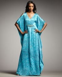 Badgley Mischka | Blue Beaded-waist Printed Caftan Gown | Lyst