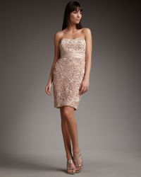 Badgley Mischka | Pink Rosette Strapless Dress | Lyst