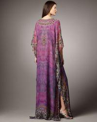 Badgley Mischka | Purple Half-sleeve Printed Caftan | Lyst