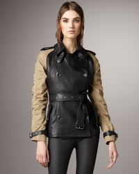 Burberry Brit | Natural Canvas-sleeve Leather Trenchcoat | Lyst