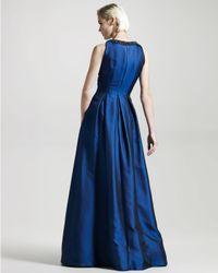 David Meister - Blue Jewel-neck Hammered Satin Gown - Lyst