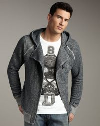 DIESEL - Gray Biker Zip Hoodie for Men - Lyst