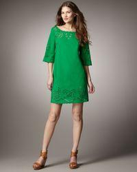DKNY - Green Half-sleeve Eyelet Dress - Lyst