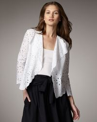 DKNY | White Three-quarter Sleeve Eyelet Jacket | Lyst