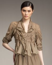 Donna Karan - Brown Vintage Smocked Blouse - Lyst