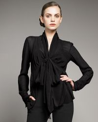 Donna Karan - Black Tie-neck Blouse with Cami - Lyst