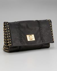 Emilio Pucci | Black Studded Textured-leather Clutch | Lyst