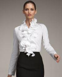 ESCADA | White Ruffled Blouse | Lyst