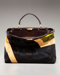 Fendi | Metallic Patchwork Calf Hair Peekaboo Tote | Lyst