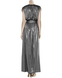 Halston   Metallic Belted Lamé Maxi Dress   Lyst