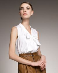 Jason Wu - White Riva Tie-neck Sleeveless Blouse - Lyst