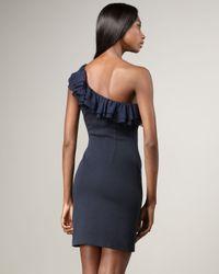 Jay Godfrey | Blue St. Tropez One Shoulder Ruffle Dress | Lyst