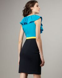 Jay Godfrey | Blue Mallorca Two-tone Ruffle Dress | Lyst