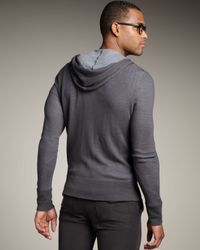 John Varvatos | Gray Thermal Hoodie for Men | Lyst