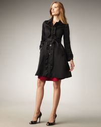 kate spade new york | Black Melissa Ruffled Trenchcoat | Lyst