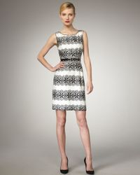 kate spade new york | Gray Lola Lace-stripe Sheath Dress | Lyst