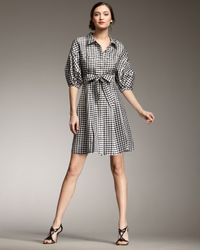kate spade new york | Gray Tracy Gingham Shirtdress | Lyst