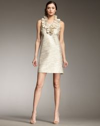 kate spade new york | Metallic Lucille Ruffle-front Shift Dress | Lyst