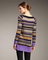 M Missoni - Black Wavy-stripe Sweater Tunic - Lyst