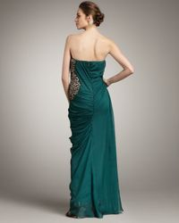 Mandalay - Green Strapless Bead-inset Gown - Lyst
