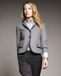 McQ - Gray Tweed Ribbon-trim Blazer - Lyst
