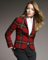 McQ | Red Tartan Plaid Blazer | Lyst