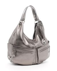 MICHAEL Michael Kors | Metallic Large Shoulder Tote, Gunmetal | Lyst