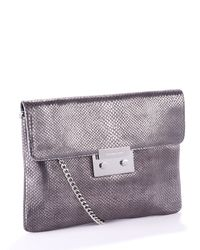 MICHAEL Michael Kors | Metallic Sloan Oversized Clutch, Nickel Python Embossed | Lyst