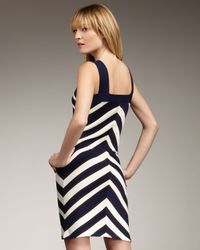 MILLY | Black Chevron-stripe Dress | Lyst