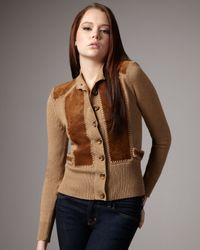 Nanette Lepore | Natural Puccini Suede-panel Cardigan | Lyst