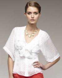 Nanette Lepore | White Tie Front Big Boss Blouse | Lyst