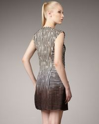 Nanette Lepore - Gray Racing Stripe Ombre Dress - Lyst