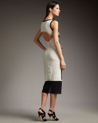 Nicole Miller - Black Colorblock Calf-length Dress - Lyst