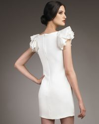 Notte by Marchesa | White Ruffle-sleeve Crepe Shift Dress | Lyst