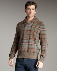 Polo Ralph Lauren | Green Plaid Shawl-collar Sweater for Men | Lyst