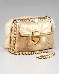 176a8aee6f Lyst - Prada Napa Antik   Eco Pelliccia Faux Fur Chain Bag in Natural
