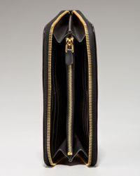 Prada - Black Tessuto and Saffiano Zip-around Wallet - Lyst
